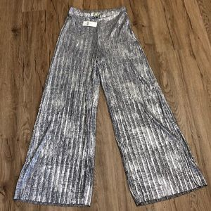 Anthopologie Silver Metallic wide leg pants NWT